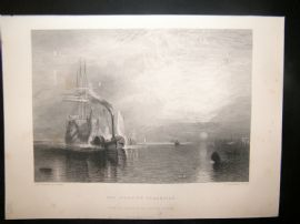 After Turner 1864 Antique Print, The Fighting Temeraire, Maritime, Art Journal
